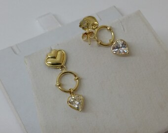 750 18ct. Gold Heart stud Earrings Crystal OR129