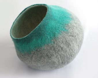 Designer Cat Cave / Cat Bed / Cat House Vessel Cocoon - Hand Felt Wool - Gray Teal Bubble - Crisp Minimalist Modern Design - READY TO SHIP