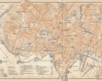 1929 Oslo Norway Antique Map