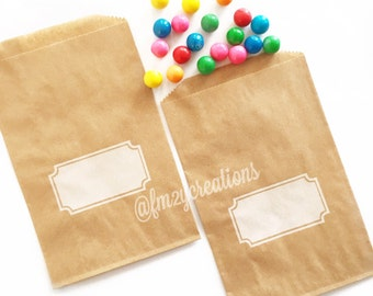 Kraft Favor Bag--(12) KRAFT and WHITE Notched Box Party Favor Bags (5x7): DIY bag, Kraft Bag, boutique/bakery bag, birthday party