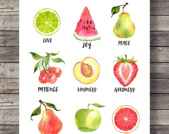 The Fruit of the SpiritGalatians 5v22 | fruit watercolor | typography Scripture print | Instant download| Bible verse wall art