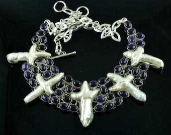 Natural Amethyst & Biwa Pearl Gemstone Sterling Silver Necklace,Gemstone Silver Necklace