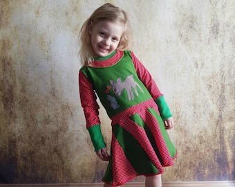 Dress, Rehkleid, Gr. 80-152, bunny, Red, green, bunny dress, fawn, summer dress, children's dress, children's dress, rock, children's dress, sweat, embroidered