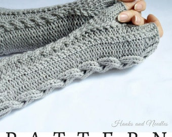 Knitting Cable Fingerless Glove Pattern, PDF Download Hand Warmers Pattern, Wrist Warmers, Texting Gloves, Advanced Charted Knitting Pattern