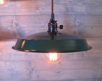 Green Vinyl Record Pendant Light - Reused Plastic Industrial Ceiling Lamp