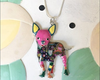 Chihuahua (Standing) Enamel Charm Necklace
