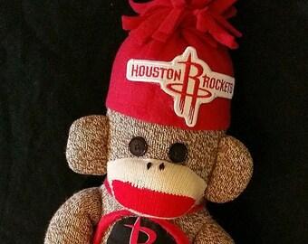 Houston Rockets, Houston Rockets Sock Monkey, Handmade Sock Monkey, Rockets Sock Monkey