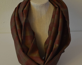 Infinity Scarf women's men's | Christmas gift | fashion accessory | loop scarf | trendy gift | brown scarf | burgundy scarf | striped scarf