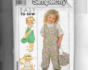 Simplicity Toddlers' Overalls In Three Lengths and Bag Pattern 9275