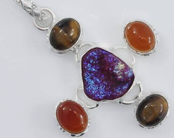 Titanium Pink Druzy And TIger's Eye  Or Carnelian Multi Gemstone .925 Silver Pendant Size 2 1/3 Inches Long Jewelry