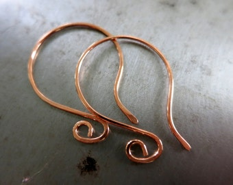 COPPER EARWIRES, Hand Forged, Elegant Style, 6 Pairs, Choice of Finish