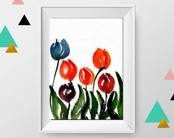 Watercolor Tulip painting, Original watercolor paniting, Tulip art, Flower wall art, Original Flower painting