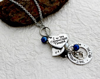 State trooper etsy state trooper wife necklace trooper jewelry police wife necklace sheriff girlfriend jewelry trooper mom necklace police wife gift aloadofball Image collections