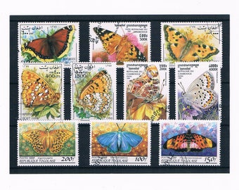 Beautiful Butterfly Postage Stamps | butterflies, wings, flight, nature thematic used world postal stamps | collage craft, upcycle, collect