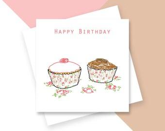 Cupcakes Happy Birthday greetings card