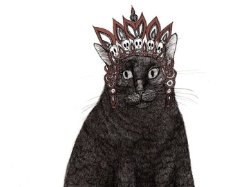 Mary Jane the black cat wears a crown of skulls ORIGINAL artwork ink drawing on paper 8 x 10