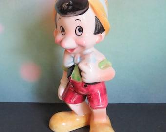 Vintage Pinocchio Ceramic Figurine Walt Disney Productions Japan; Vintage 1960s Ceramics; Vintage Disney; 1960s Disney; Pinocchio