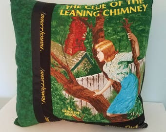 Nancy Drew pillow cover, The Clue of the Leaning Chimney, Nancy Drew books, decorative pillow, throw pillow, gift for her, vintage books