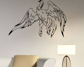 Phoenix Decal Bird Removable Vinyl Sticker Fantasy Animal Wall Art Greek Mythology Decorations for Home Office Bedroom Spiritual Decor phx3