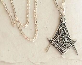 Alchemy Necklace, Gypsy Necklace, Magic Necklace, Fantasy Necklace, Carved Sterling Silver Necklace for Women, Transmutation Symbol Necklace