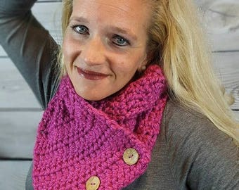 Pink Button Cowl Scarf, Boston Harbor Scarf, Crochet Neck Warmer, Knit Scarf - Berry Pink with Coconut Buttons - Fast Shipping!