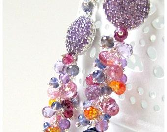 Amethyst, Iolite, Topaz, Garnet earrings - Purple Sunset