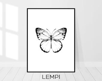 Butterfly Print, Butterfly Art, Black and White, Sketch Art, Animal Print, Minimalist Print, Nature Print, Modern Wall Art, Digital Download