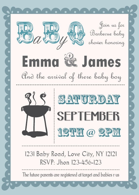 Baby Q Shower BBQ Invitation Couples