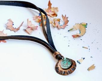 Shell pendant Patina copper necklace Romantic necklace Copper patina jewelry Simple pendant Shell jewelry Pendant gift Copper pendant gift