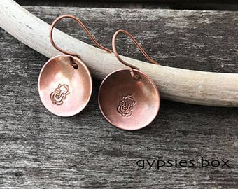 Ganesha Copper Dangle Earrings / Namaste Earrings / Copper Dangle Earrings / Boho Earrings