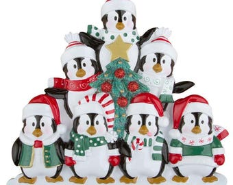 Winter Penguins Family 7 Personalized Christmas Ornament