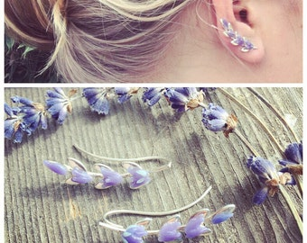 Lavender Ear Climber, Sterling Silver Botanical Flower, Ear Jacket Manchette, Ohrklemme Ohrclip, Ear Cuff, Ear Pin, Ear Sweep, Glass Jewelry