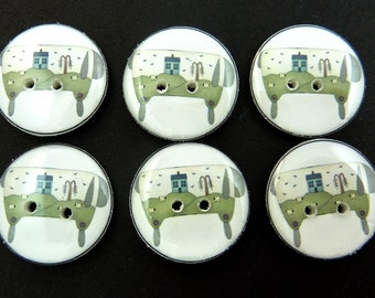 """6 Handmade Primitive Scenic Sheep Decorative Novelty Sewing Buttons. 20 mm or 3/4"""" size. Great for Crafts.  Washable and dryer Safe."""