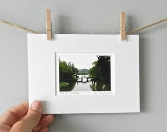 Miniature Art, Zen Home Decor, Asian Art Waterscape, Bridge Photography of China, Asian Decor, Water Reflections, 5x7 Matted Green Water Art