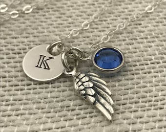 Small Angel Wing Necklace with Initial Charm and Birthstone