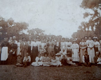 Antique Family Reunion Photograph - Victorian, Edwardian, men, women, children, vintage, sepia, photo, original, scrapbooking, photography