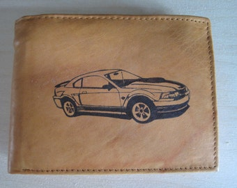 """Mankind Wallets Men's Leather RFID Blocking Billfold w/ """"2003, 2004 Ford Mustang Mach 1"""" Image~Makes a Great Gift!"""