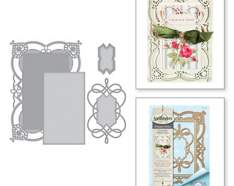 Spellbinders Shapeabilities Coralene's Chemise Layering Frame Large Etched Dies Chantilly Paper Lace Collection by Becca Feeken S6-130