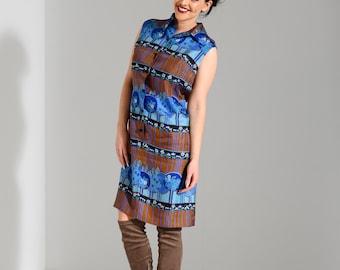 Vintage 1970s silk print shirt dress shift dress UK 12 M