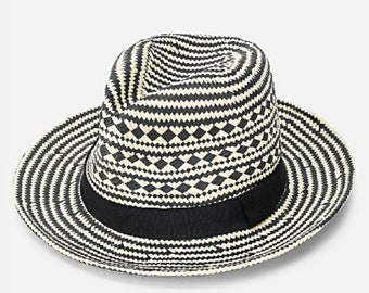 Black and White Straw Fedora with Black Band