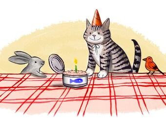 Happy Birthday Card - birthday party card, birthday party invitation, cute cat card, cat birthday card, animal birthday party, best friend
