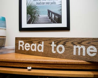 Handmade Read to Me sign made from books