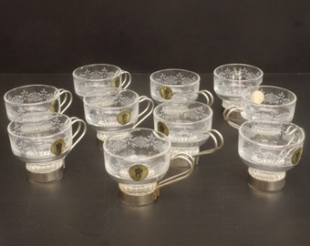 Vintage Glass Espresso Cups with Removable stainless steel Holders set of 10 Hand Engraved Glass Demitasse Set Never Used