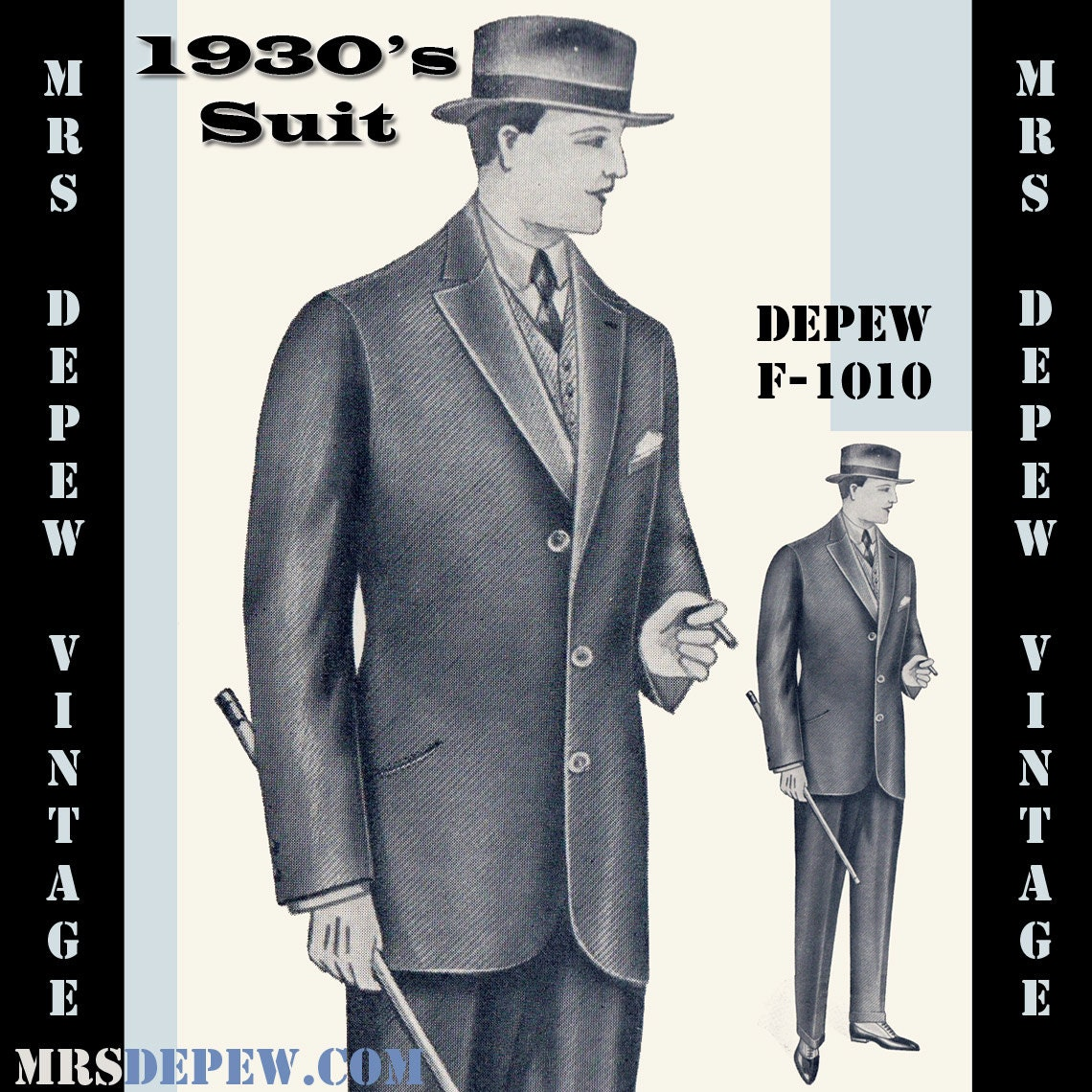 Menswear Vintage Sewing Pattern 1930s Mens Suit Coat