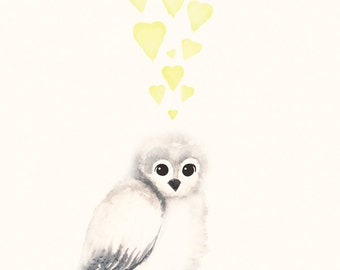 Owl Nursery Decor Yellow and Lime Green -  8x10 / A4 Print for Baby Boy Nursery or Baby Girl Nursery, Watercolour Painting of Owl