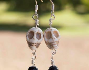 Skull with Black Bead Earrings,Dangle Earrings
