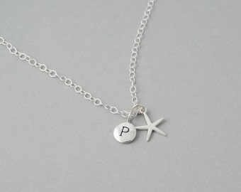 Sterling Silver Star fish necklace / Personalized Initial necklace