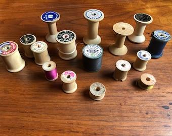 16 Antique Wooden spools