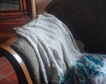 Cotton sweater with fringe decoration hand made