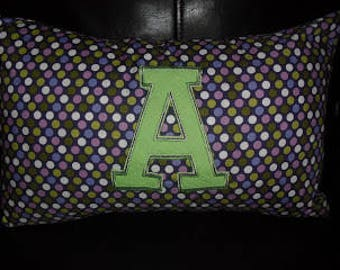 Purple Polka Dot Applique Pillow